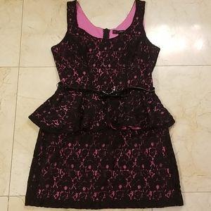 Like-New Pink & Black Lace Peplum Waist Dress